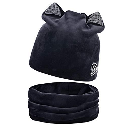 (2018 Cat Ear Skullies Beanies Hats Winter Knitted Hat Scarf Winter Hats for Women Gorras Bonnet Bone Mask)