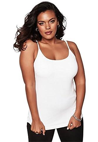 Roamans Women's Plus Size Bra Cami White,1X (Shelf Bra Tank Plus)