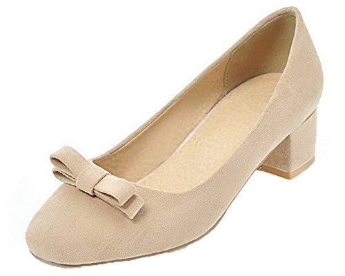 Odomolor Women's Square-Toe Frosted Pull-On Low-Heels Solid Court Shoes Beige GzWveeW0