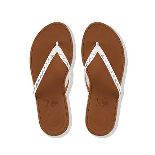 Women's Fitflop Flip Multicolour Tm Silver Zigzag Mirror Toe Sandals Linny Urban 583 Mirror Thong Flops White d44rnFqap