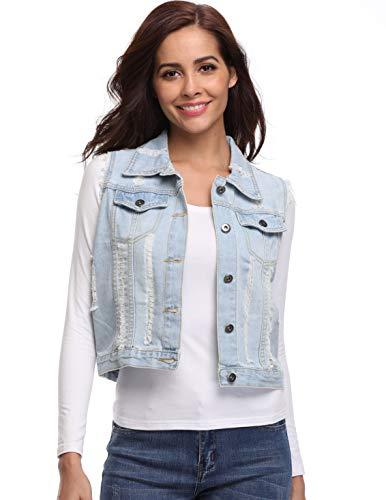 Dilgul Jean Vest for Women Button Down Denim Sleeveless Jacket with Pockets
