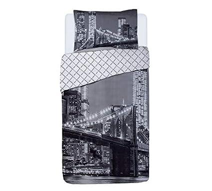 5ab6b13e04b Argos Home New York Skyline Duvet Cover Set (Single): Amazon.co.uk: Kitchen  & Home