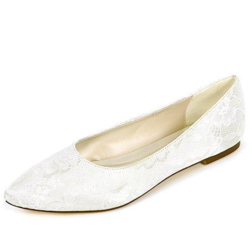 Fashion Crossover evening yc Donna Bridal Scarpe 6cm Ivory Da L Platform Flat Chunky 0 Party Satin Sposa PqngfzwWHw