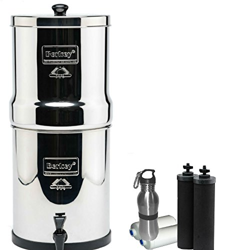 1.5 Water Filter System - Travel Berkey Water Filter 1.5 Gallon System Bundle: 2 Black BB9 Filters, 2 PF2 Fluoride Filters, 1 Stainless Steel Water Bottle