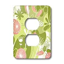 3dRose LLC lsp_11225_6 Pink and Green Floral, 2 Plug Outlet Cove