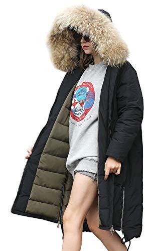 (Jacket Coat Women Winter Winter Down Waterproof Jacket Women Lightweight Puffer Spring Jacket Women Snow Long Sleeve Jacket Women Quilted Zip Casual Jacket Women Vintage with Faux Fur Hood Black L)