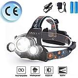 Zhongbo LED Rechargeable Headlamp, 8000 Lumen Headlight, 100% Waterproof, 90° Adjustable Flashlight, Perfect Head Light for Camping, Hiking, Outdoors