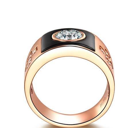 Gowe-CT Certifié H/VS Diamant pour homme Alliance Coupe ronde Or rose 18K avec agate Noir