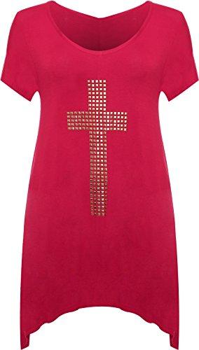 Hauts 40 courtes 58 et WearAll Femmes ourlet dessin manches irrgulier croix Tunique clout du Grandes tailles avec Cerise qaaZwPE
