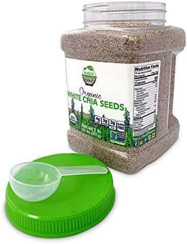 Wunder Basket Organic Chia Seeds White, 2 LB Jar, w/scoop - Raw, Non-GMO, Vegan