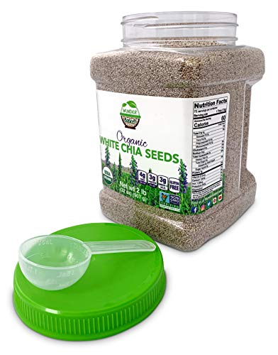 Wunder Basket Organic Chia Seeds White, 2 LB Jar, w/scoop - Raw, Non-GMO, Vegan