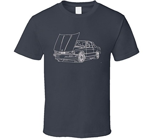 (E30 Convertible Side View Open Hood Joe Mitchell Sketch Dark T Shirt M Charcoal Grey)