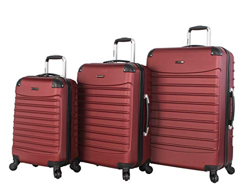Voyager 3 Piece Luggage Set - Ciao Luggage Voyager 3 Piece Hardside Spinner Suitcase Set Collection (Voyager Burgundy)