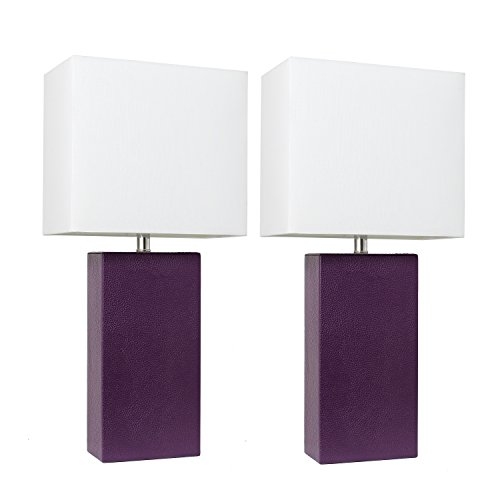 Elegant Designs LC2000-EGP-2PK 2 Pack Modern Leather Table Lamps with with White Fabric Shades, Eggplant