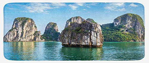 (Lunarable Asian Kitchen Mat, Various Big Limestone Islands in Sea Asian East Coast Image Dreamland Scenery Image, Plush Decorative Kithcen Mat with Non Slip Backing, 47 W X 19 L Inches, Blue Grey)
