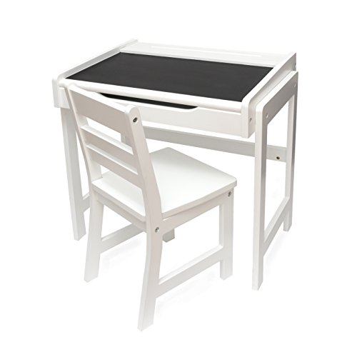 Lipper International 554AW Child's Desk with Chalkboard Top & Chair, Antique White by Lipper International