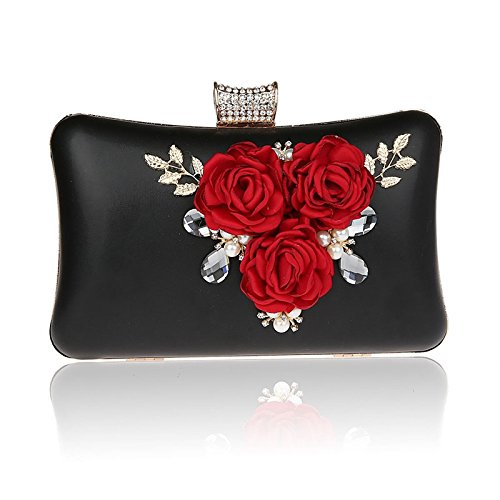 Prom Bag Rhinestone Pearl Black Wedding Purse For Clutch Evening Engagement Crystal Party Case Hard Cocktail Bags EqfxPHz