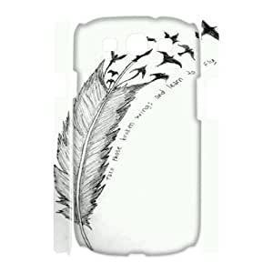 Feather Quote Fly Customized 3D Cover Case for Samsung Galaxy S3 I9300,custom phone case ygtg616963