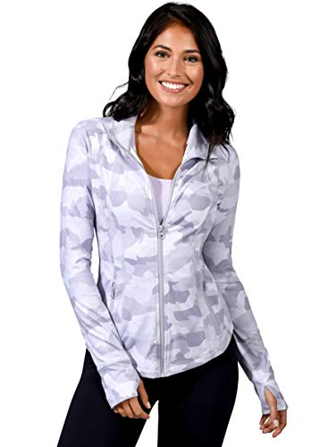 Yogalicious Womens Ultra Soft Lightweight Full Zip Yoga Jacket with Zipper Pockets - Silver Camo - Large