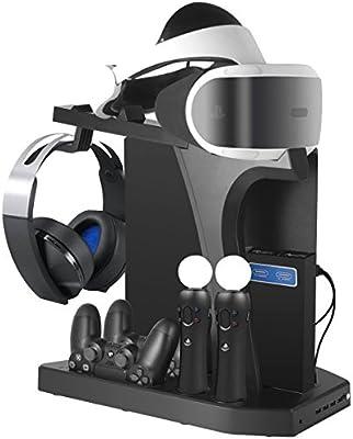 Playstation Soporte Vertical, PSVR Auriculares Headset Stand, Ventilador de Refrigeración, Estación de Carga Cargador de Controlador DualShock 4 y ...