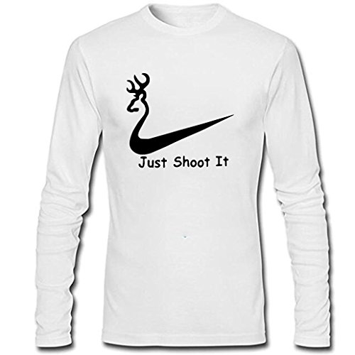 Men's Just Shoot It Gift for Hunting Lovers Funny Long Sleeve Shirt (White,XXL)