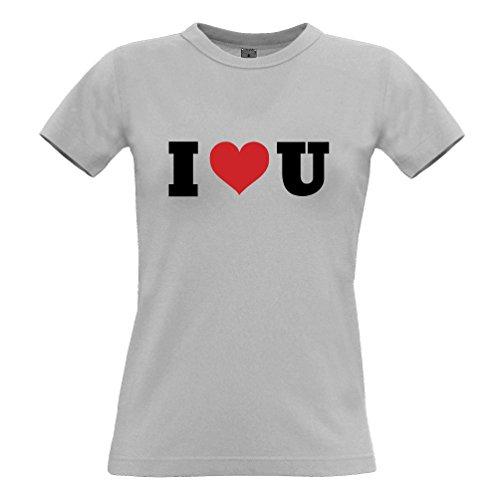 Tim and Ted I Heart U San Valentino Day Special Slogan Stampato Citazione Design T-Shirt da Donna