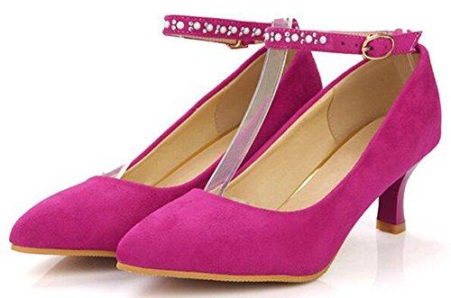 Idifu Donna Dolce Punta A Punta Fibbia Cinturino Alla Caviglia Pompe Mid Block Tacchi Wear To Work Shoes Rose Red