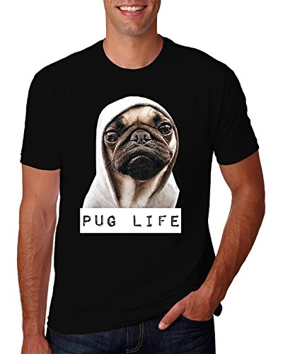 Hot Ass Tees Adult Unisex Pug Life Funny Thug Life T-Shirt Black Medium