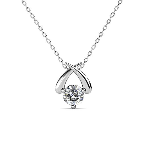 Cate & Chloe Eloise White Gold Pendant Necklace, Womens 18k White Gold Plated Necklace with a Unique Sparkling Solitaire Round Cut Swarovski Crystal, Silver Pendant Necklace for Women, MSRP - 119