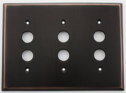 Classic Accents Oil Rubbed Bronze 3 Gang Push Button Light Switch Switchplate