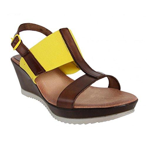 CUMBIA Zapatos de Cuña de Mujer 30126 Nuez-Amarillo