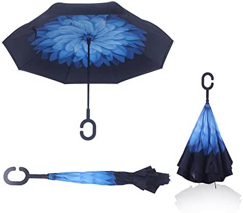 Double Layer Wind Proof,UV Proof Reverse Folding Inverted Umbrella Travel Umbrella with C Shape Handle and Carrying Bag