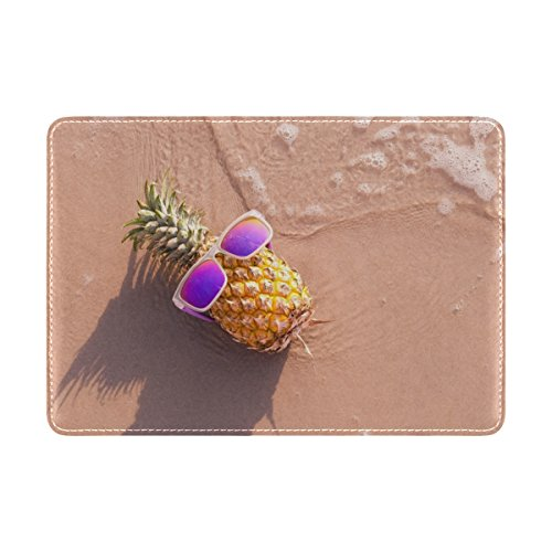 Cooper girl Funny Pineapple Beside Sea Passport Cover Holder Case Leather Protector for Men Women Kid