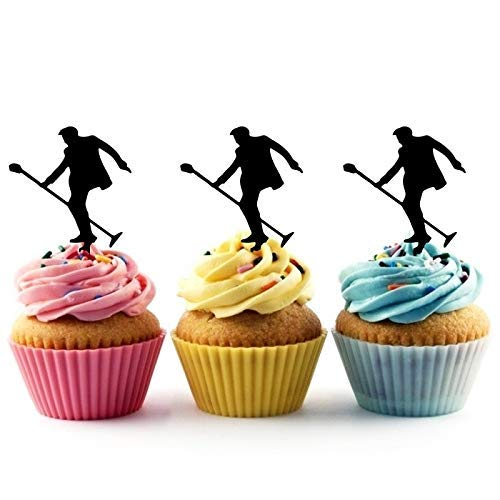 Elvis Rock Star Silhouette Acrylic Cupcake Toppers 12 pcs -