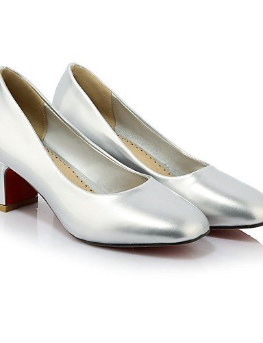 GGX/ Damen-High Heels-Hochzeit / Kleid-Kunstleder-Blockabsatz-Komfort / Rundeschuh-Rosa / Silber / Khaki pink-us5.5 / eu36 / uk3.5 / cn35