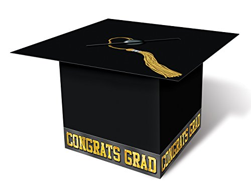 Grad Cap Card Box (black) Party Accessory  (1 count) (1/Pkg) -