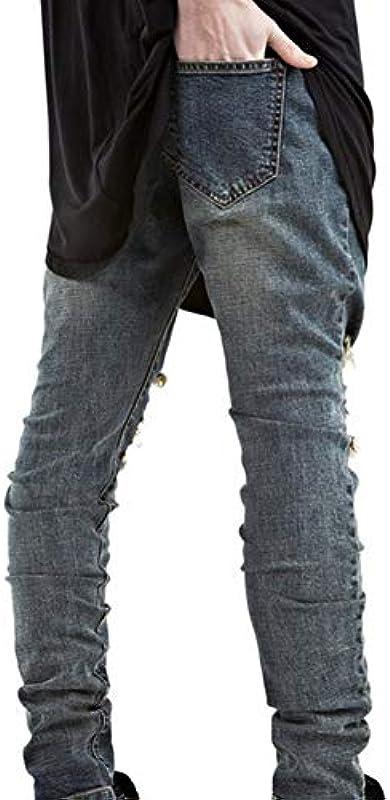 Emmay dżinsy męskie, bardzo ciasne, ze stretchu, na kolanach, z otworami: Odzież