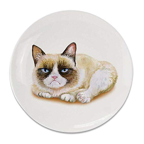 YOLIYANA Animal Round Ceramic Decorative Plate,Grumpy Siamese Cat Angry Paws Asian Kitten Moody Feline Fluffy Love Art Print for Table Or Wall,6 inch