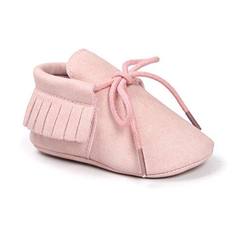 Meckior First Walkers - Unisex Baby Boys Girls Moccasins Soft Sole Tassels Prewalker Anti-Slip Loafer Shoes (12-18 Months Toddler, A-Pink)