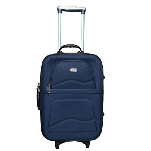 VIDHI Fabric Rubber 20 Inch Cabin Luggage Suitcase Trolley Bag  Blue