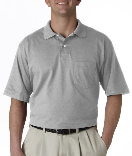Jerzees mens 5.6 oz. 50/50 Jersey Pocket Polo with SpotShield(436P)-OXFORD-L (Pocket Polo)
