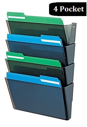 1InTheHome Expandable Wall file organizer, Smoke colored Letter-Sized, 4 pocket (Pocket File Partition Set)