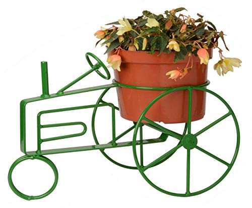 Wrought Iron Flower Pot Holder Green - Powder Coated Farm Tractor Design - Hand Made by Amish of Lancaster County PA (Holder Flower Wrought Pot Iron)