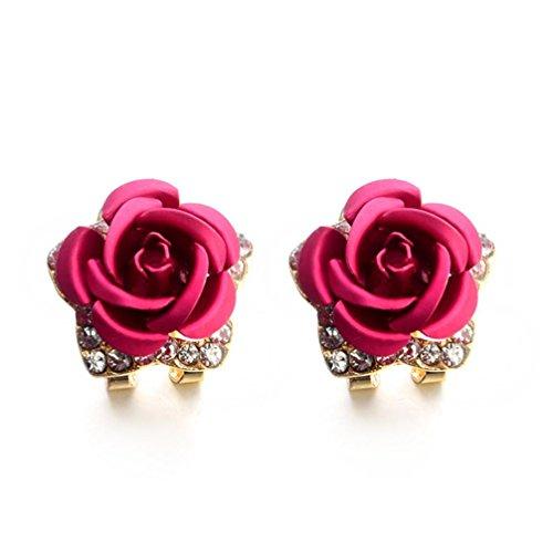 Forthery Stud Earrings, Women's Crystal Rose Rhinestone Earrings Fashion Woman Jewelry (Hot (Pink Coin Pearl Bracelet)