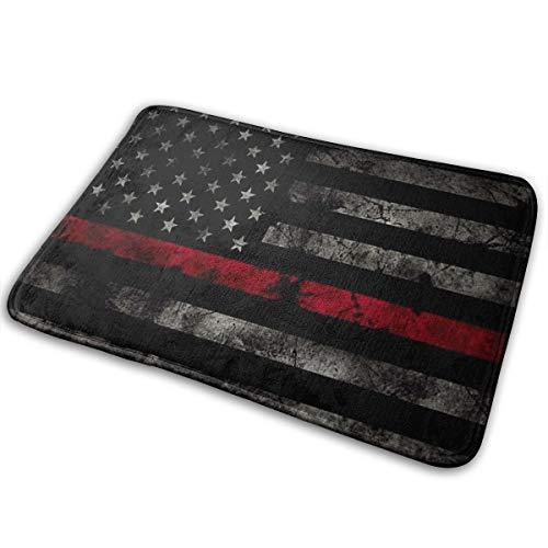 ZZATAA Red Thin Line Flag Print Non-Slip Doormat Bath Mat Rug Halloween Decoration(15.75x23.62 Inch) -
