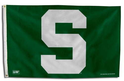 Rico Industries NCAA Michigan State Spartans 3-Foot by 5-Foot Single Sided Banner Flag with (Michigan State Single)