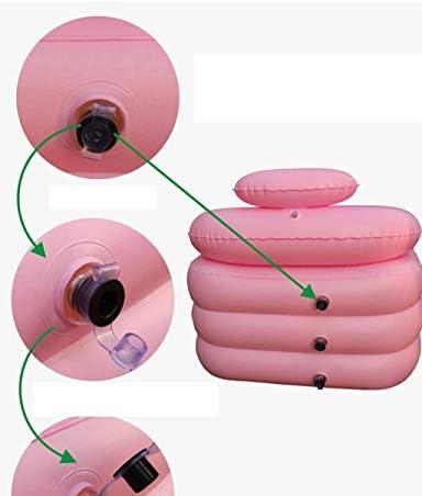 HUOQILIN PVCプラスチックポータブル折りたたみインフレータブル風呂大人のお風呂、SPA(ピンク)付きのスパ用浴槽、ダブルインフレータ