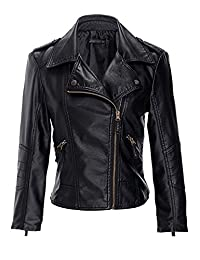 CLJJ7 Women's Slim Faux Leather Zip Up Short Jacket Coat