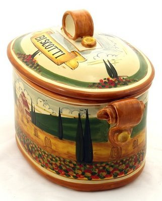 PAESAGGIO TOSCANA: Oval Biscotti Canister Jar [#P45P-PAE]