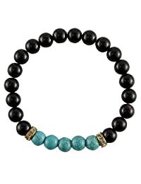 Aatm Reiki Black Onyx With Turquoise Beaded Gemstone Bracelet (Stone of Protection,and Psychic Abilities)